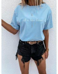 Дамска тениска с принт в светлосиньо - код 36755