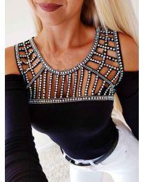 Черна блуза с ефектно деколте с камъни - код 3439