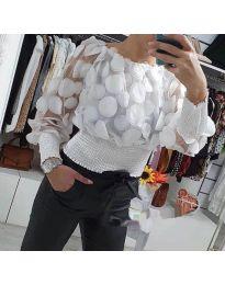 Ефектна блуза от тюл с ластична долна част в бяло - код 3530