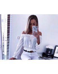 Кокетна дамска риза в бяло - код 7126
