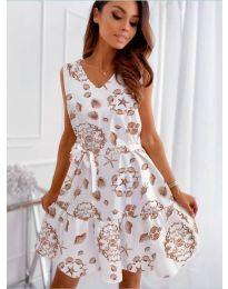 Феерична рокля в бяло с атрактивен десен - код 346