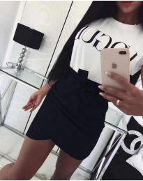Черна дамска пола с висока талия и колан - код 891