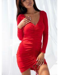 Атрактивна рокля в червено - код 12069