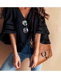 Ефектна дамска блуза в черен цвят - код 3371