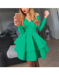 Атрактивна зелена рокля с ефектно деколте - код 228