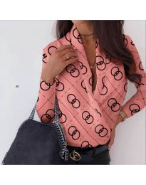 Дамска риза-боди с голямо деколте в цвят корал - код 688