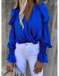 Стилна блуза с ефектни ръкави в синьо - код 5451