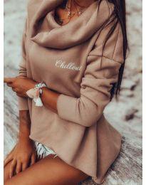 Блуза с ефектна яка в цвят кафяво - код 7878