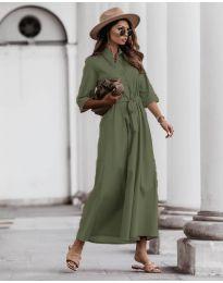 Изчистена рокля в маслено зелено - код 0900