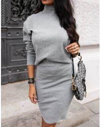 Комплект от пола и блуза в сиво - код 151
