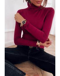 Дамска блуза с поло яка в бордо - код 0307