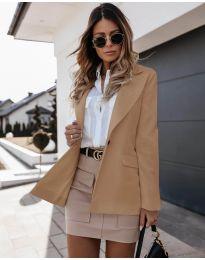 Дамско сако с копче в капучино - код 4569