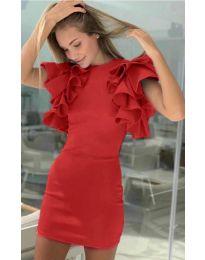 Дамска рокля в червено с ръкави с набран ефект - код 939