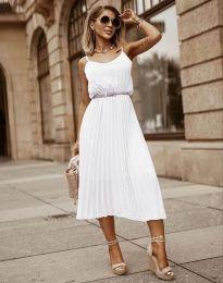 Кокетна плисирана рокля в бяло - код 1249