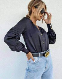 Стилна дамска риза в черно - код 7492