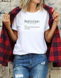 Дамска тениска с надпис в бяло - код 0272