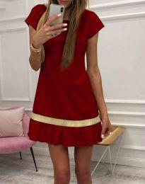 Стилна дамска рокля в цвят бордо - код 2532