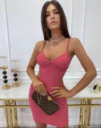 Стилна рокля по тялото в розово - код 11808
