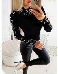 Дамска блуза в черно с перли - код 3487