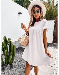 Свободна дамска рокля в бяло - код 744