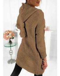 Плетена жилетка в кафяво - код 998