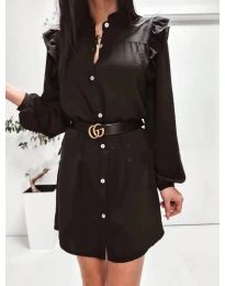 Елегантна рокля тип риза в черно - код 3433