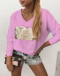 Атрактивна розова блуза с пайети - код 4150