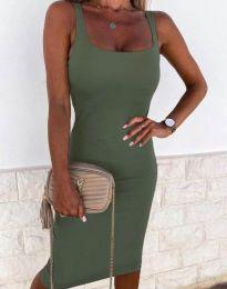 Елегантна рокля в масленозелено - код 8899