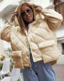 Модерно дамско яке в бежово - код 7382