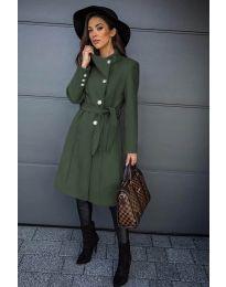 Дамско палто с колан в маслено зелено - код 396