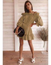 Свободна дамска рокля в кафяво - код 3386