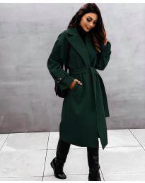 Дамско палто с колан в зелено - код 410