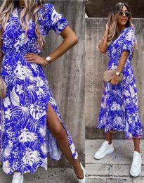 Дълга рокля в синьо с флорален десен - код 6212
