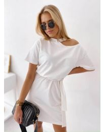 Свободна дамска рокля в бяло - код 022
