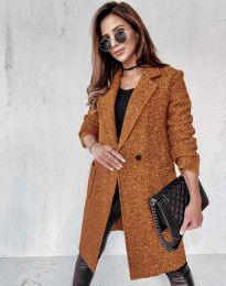 Дамско палто в кафяво - код 0964
