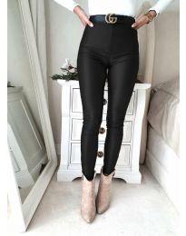 Втален дамски панталон в черно - код 2789