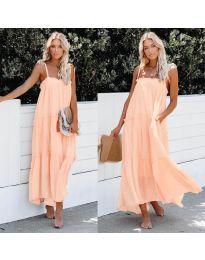 Дълга ефирна рокля в цвят праскова - код 551