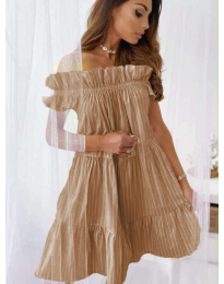 Свободна рокля в кафяво - код 0299