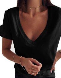 Дамска тениска с ефектни ръкави в черно - код 2462