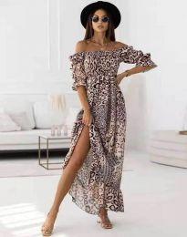 Дълга дамска рокля с атрактивен десен - код 6319 - 6