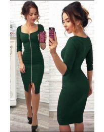 Стилна рокля по тялото в зелено с цип в предната част - код 445