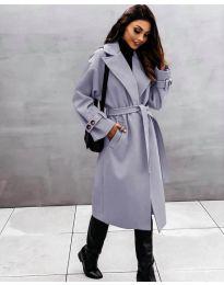 Дамско палто с колан в сиво - код 410