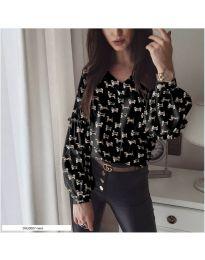 Дамска черна риза с десен кученца - код 844 - 1