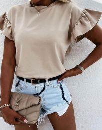 Дамска тениска с ефектни ръкави в бежово - код 4352