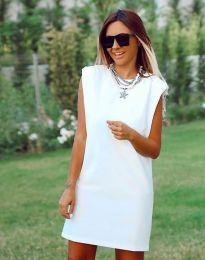 Къса елегантна рокля в бяло - код 5786