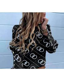 Черна дамска риза с ефектен десен - код 781