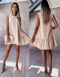 Свободна дамска рокля в бежово - код 3456