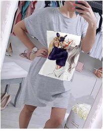 Свободна рокля с атрактивен принт в сиво - код 619