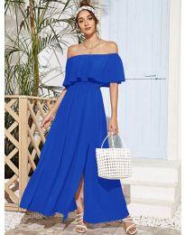 Дълга дамска рокля в синьо - код 698