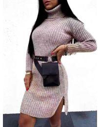 Дамска рокля с поло яка в сиво - код 6867
